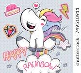 cute unicorn girl cartoon... | Shutterstock .eps vector #749510911