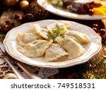 dumplings stuffed with mushroom ... | Shutterstock . vector #749518531