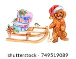 a dog with a sleigh in a santa...   Shutterstock . vector #749519089