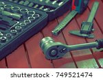 set of tools for repair in a... | Shutterstock . vector #749521474