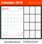 vector print template. monthly... | Shutterstock .eps vector #749521519