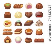 chocolate candies collection.... | Shutterstock .eps vector #749527117