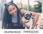 funny cute african american... | Shutterstock . vector #749532241