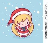 lovely cute kawaii chibi. snow... | Shutterstock .eps vector #749534314