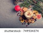 eggnog with cinnamon .christmas ... | Shutterstock . vector #749534374