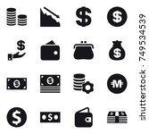 16 vector icon set   coin stack ... | Shutterstock .eps vector #749534539