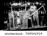 cocktails in glass jars  stand... | Shutterstock . vector #749541919