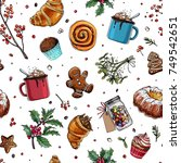 pattern sketch christmas sweets.... | Shutterstock .eps vector #749542651