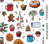 pattern sketch christmas sweets.... | Shutterstock .eps vector #749542687