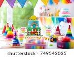 kids birthday party decoration. ... | Shutterstock . vector #749543035