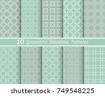 set of seamless line patterns.... | Shutterstock .eps vector #749548225