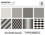 Set of Eight Vector Seamless Black and White Patterns. Minimal Abstract Freehand Background Design