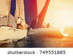 sailing yacht race  regatta.... | Shutterstock . vector #749551885