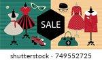 sale banner. vintage fashion.... | Shutterstock .eps vector #749552725