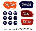 set of sale stickers with hand... | Shutterstock .eps vector #749553514