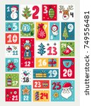 vector advent calendar....   Shutterstock .eps vector #749556481