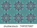 xmas frost snow flake isolated... | Shutterstock . vector #749557087