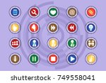 a set of icons on colored... | Shutterstock .eps vector #749558041