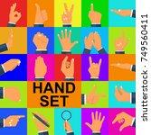 color set hands in different... | Shutterstock .eps vector #749560411
