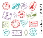 Christmas Post Mail Stamp Sant...