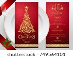 christmas greeting and new... | Shutterstock .eps vector #749564101