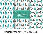 seamless christmas patterns.... | Shutterstock .eps vector #749568637