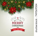 christmas background with fir... | Shutterstock .eps vector #749569504