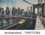 brooklyn bridge in nyc  usa. | Shutterstock . vector #749572381