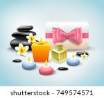 spa accessories realistic set... | Shutterstock .eps vector #749574571