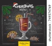 chalk drawing christmas menu... | Shutterstock .eps vector #749574769