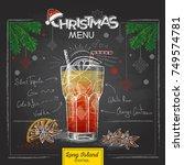 chalk drawing christmas menu... | Shutterstock .eps vector #749574781