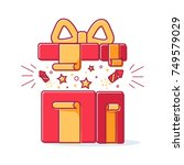 vector line icons of christmas... | Shutterstock .eps vector #749579029