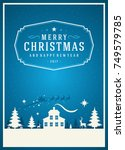 christmas greeting card or... | Shutterstock .eps vector #749579785
