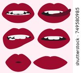 woman's lip set. chubby sexy... | Shutterstock .eps vector #749580985