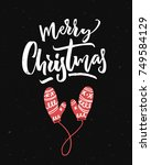 merry christmas card on black... | Shutterstock .eps vector #749584129