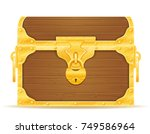 vintage wooden chest with stock ... | Shutterstock .eps vector #749586964
