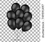 realistic bunch of black... | Shutterstock .eps vector #749591497