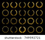 collection of different golden... | Shutterstock .eps vector #749592721