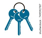 three keys from the apartment... | Shutterstock .eps vector #749592787