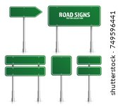 road green traffic sign. blank... | Shutterstock .eps vector #749596441