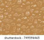 hand drawn vector wallpaper of... | Shutterstock .eps vector #749596465
