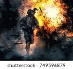 army soldier in action. great... | Shutterstock . vector #749596879