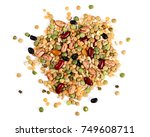 mixed dried legumes and cereals ...   Shutterstock . vector #749608711