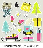 hand draw collection or winter... | Shutterstock .eps vector #749608849