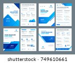 blue brochures annual reports... | Shutterstock .eps vector #749610661