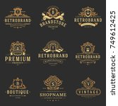 luxury monograms logos... | Shutterstock .eps vector #749612425