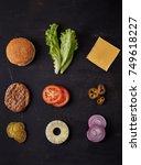 burger ingredients on dark... | Shutterstock . vector #749618227