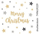 christmas greeting card... | Shutterstock .eps vector #749619229