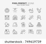 thin line icons set of... | Shutterstock .eps vector #749619739