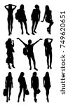 set of girl silhouettes   Shutterstock .eps vector #749620651